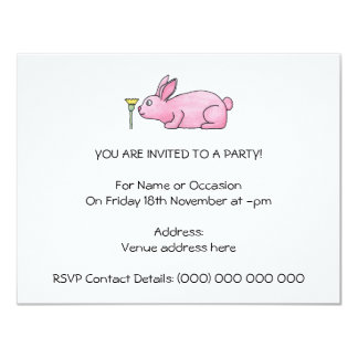 Pink Rabbit with Flower. 4.25x5.5 Paper Invitation Card