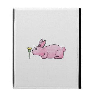 Pink Rabbit with Flower. iPad Folio Cover