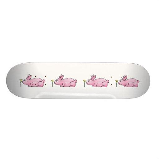 Pink Rabbit with Flower. Skate Board Deck