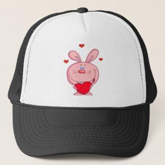 Pink Rabbit With Heart Trucker Hat