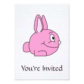 Pink Rabbit with Light Pink Stripe Background. 5x7 Paper Invitation Card
