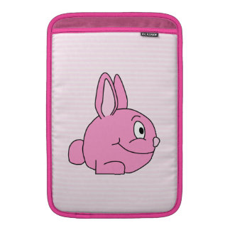 Pink Rabbit with Light Pink Stripe Background. MacBook Air Sleeves