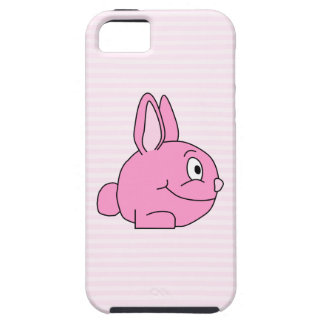 Pink Rabbit with Light Pink Stripe Background. iPhone SE/5/5s Case