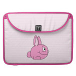 Pink Rabbit with Light Pink Stripe Background. Sleeve For MacBooks