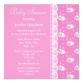Pink Rabbits Baby Girl Shower Invites