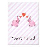 "Pink Rabbits with Hearts. 5"" X 7"" Invitation Card"