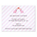 "Pink Rabbits with Hearts. 4.25"" X 5.5"" Invitation Card"