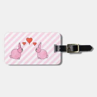 Pink Rabbits with Hearts. Tag For Luggage