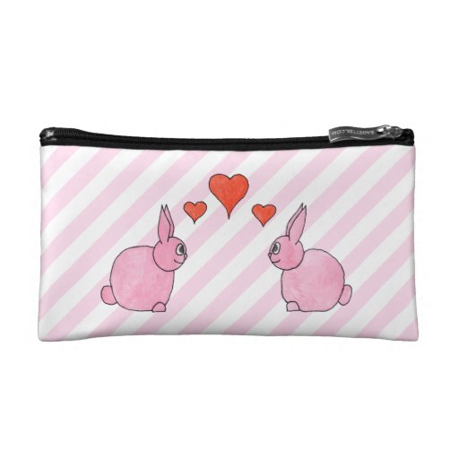 Pink Rabbits with Hearts. Makeup Bag