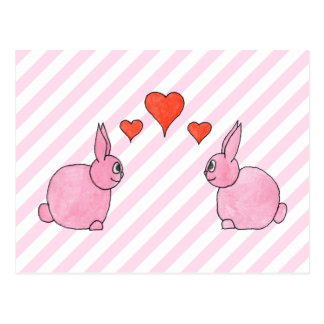 Pink Rabbits with Hearts. Postcard