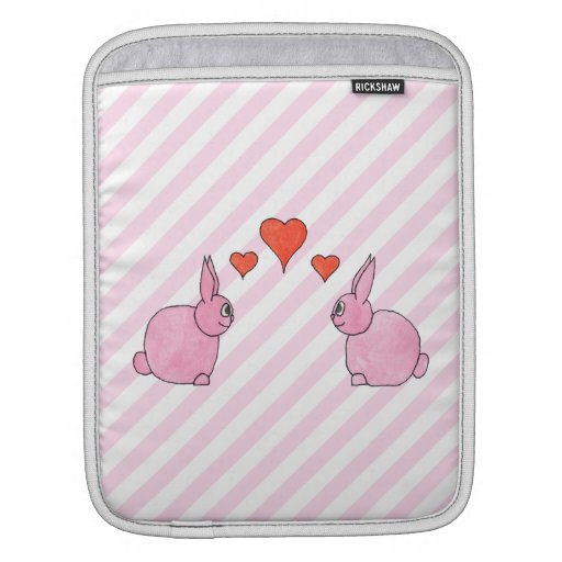 Pink Rabbits with Hearts. Sleeves For iPads