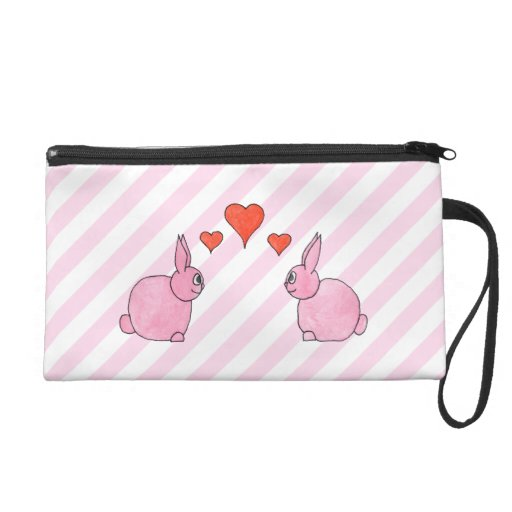 Pink Rabbits with Hearts. Wristlets