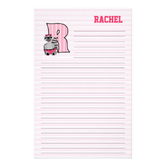 Pink Raccoon Mongram R Lined Stationery