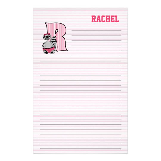 "Pink Raccoon Mongram ""R"" Lined Stationery"