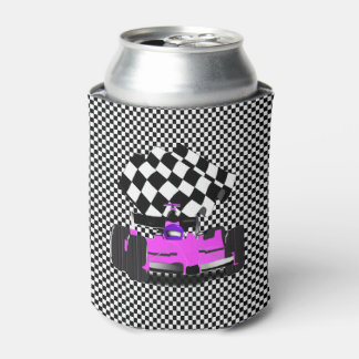 Pink Race Car with Checkered Flag Can Cooler