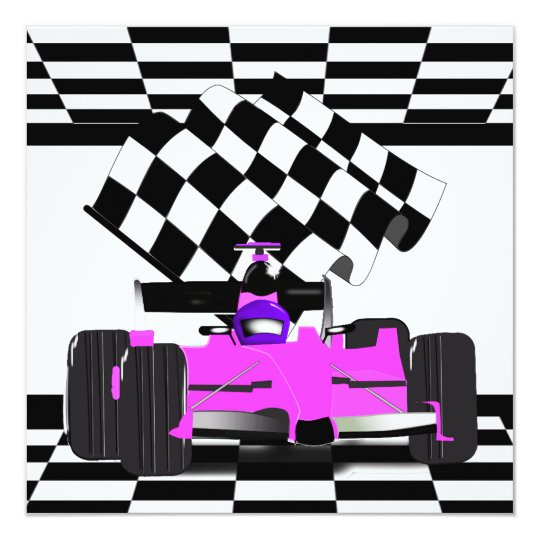 Pink Race Car with Checkered Flag (request) Card