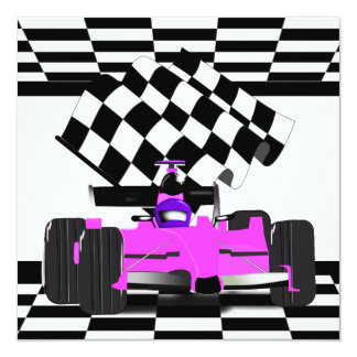 Pink Race Car with Checkered Flag (request) Announcements
