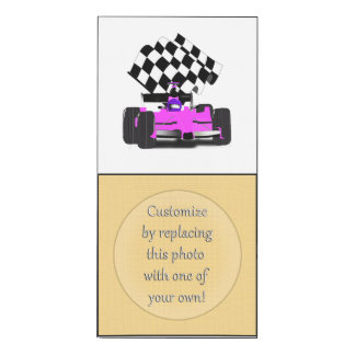 Pink Race Car with Checkered Flag Wood Print