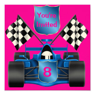 PINK  RACING CAR Invitation