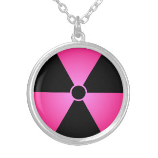 Pink Radiation Symbol Silver Plated Necklace