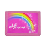 Pink rainbow and stars name wallet / purse