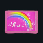 """Pink rainbow and stars name wallet / purse<br><div class=""""desc"""">Encourage saving with this colorful and bright girls pink graphic rainbow stars wallet or purse,  personalize with your girl&#39;s name. Currently reads Alhana. Uniquely designed by Sarah Trett.</div>"""