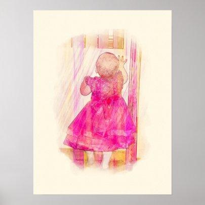 Pink Rainbow Baby at the Door