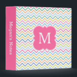 """Pink Rainbow Colorful Monogram School Binder<br><div class=""""desc"""">A girly and cool personalized monogrammed binder with a pretty multicolor chevron zigzag pattern in shades of pink,  yellow,  blue and orange and other colors of the rainbow. Add your monogram and text.</div>"""