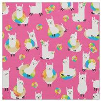 Pink Rainbow Donut Llama Kids Fabric