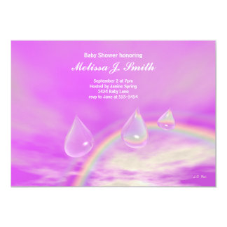 Pink Rainbow Drops for Girl Baby Shower Card