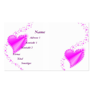 pink Rainbow Heart with Stars Double-Sided Standard Business Cards (Pack Of 100)