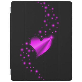 Pink Rainbow Heart with Stars on black iPad Cover