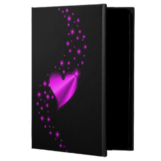 Pink Rainbow Heart with Stars on black iPad Air Case