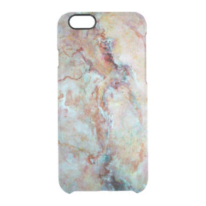 Pink rainbow marble stone finish clear iPhone 6/6S case