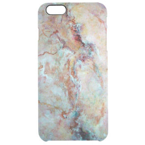 Pink rainbow marble stone finish clear iPhone 6 plus case