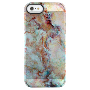Pink rainbow marble stone finish clear iPhone SE/5/5s case