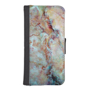 Pink rainbow marble stone finish iPhone SE/5/5s wallet case