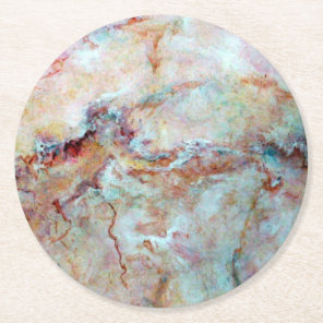 Pink rainbow marble stone finish round paper coaster