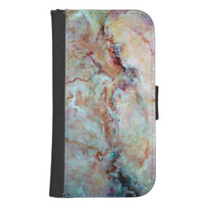 Pink rainbow marble stone finish samsung s4 wallet case