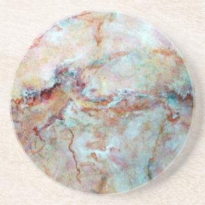 Pink rainbow marble stone finish sandstone coaster