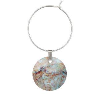 Pink rainbow marble stone finish wine glass charm