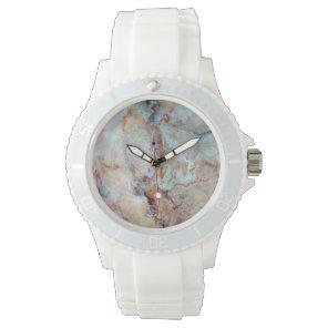 Pink rainbow marble stone finish wristwatch
