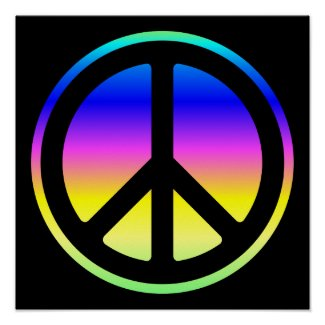 Pink Rainbow Peace Symbol Poster print