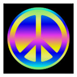 Pink Rainbow Peace Symbol Poster