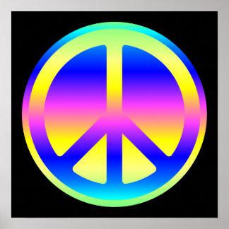Pink Rainbow Peace Symbol Poster
