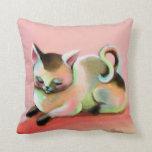 Pink Rainbow Sherbert Kitty Kitsch Cute Pillow