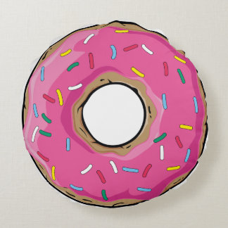 Pink Rainbow Sprinkle Donut Round Pillow