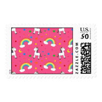 Pink rainbow unicorn hearts stars pattern postage