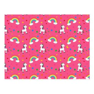 Pink rainbow unicorn hearts stars pattern postcard