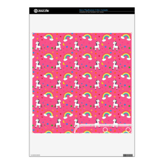Pink rainbow unicorn hearts stars pattern decal for the PS3 slim